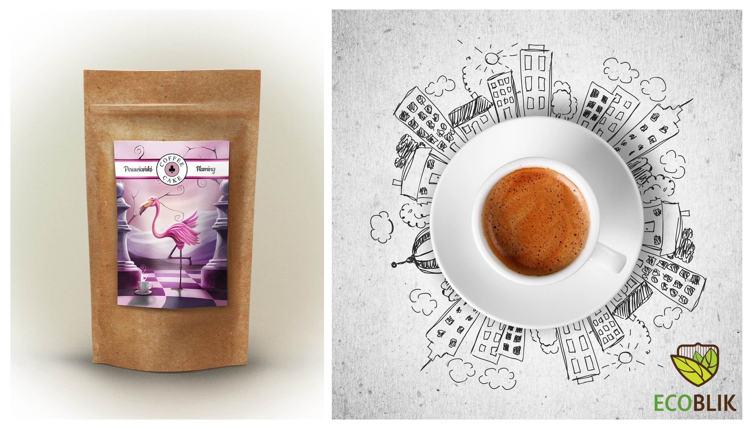 coffee Peruvian Flamingo packaging and a cup of coffee