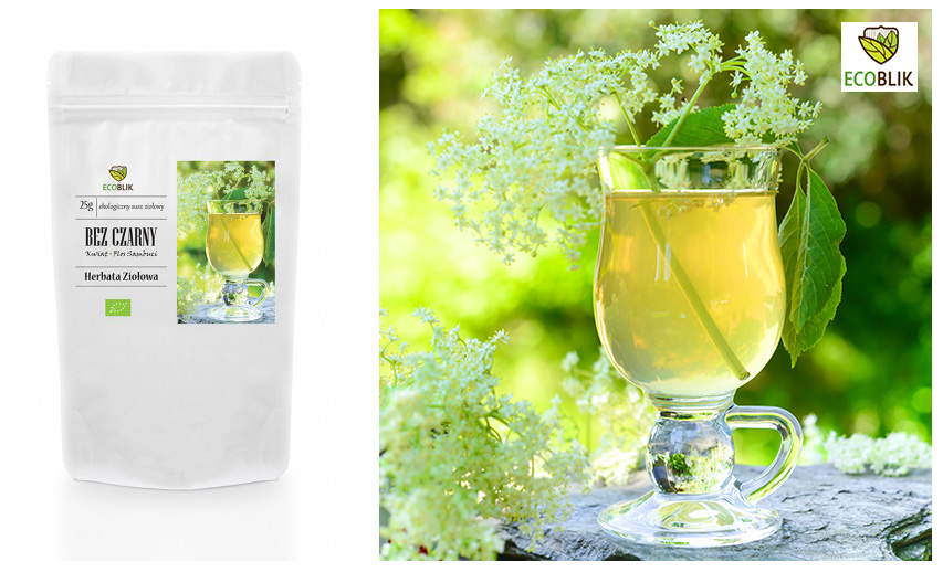 herbal tea packaging and a glass of tea