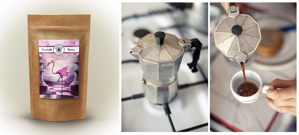 opakowanie kawy i kawiarka do parzenia kawy