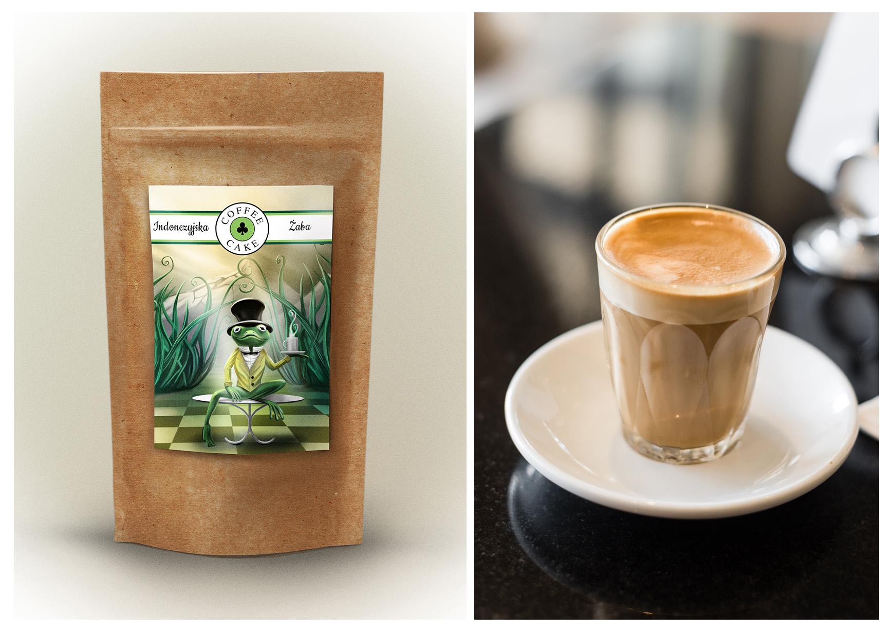 opakowanie kawy indonezyjska żaba i szklanka kawy z mlekiem