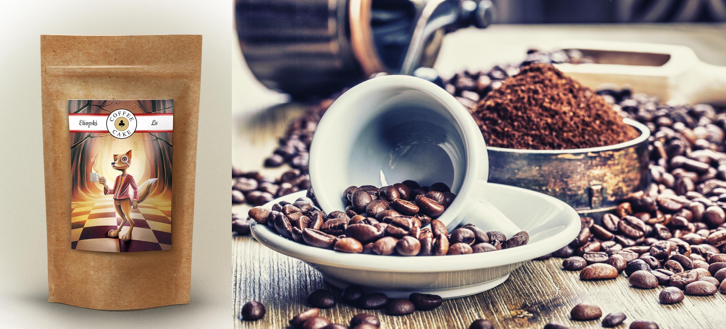 opakowanie kawy etiopski lis i ziarna kawy