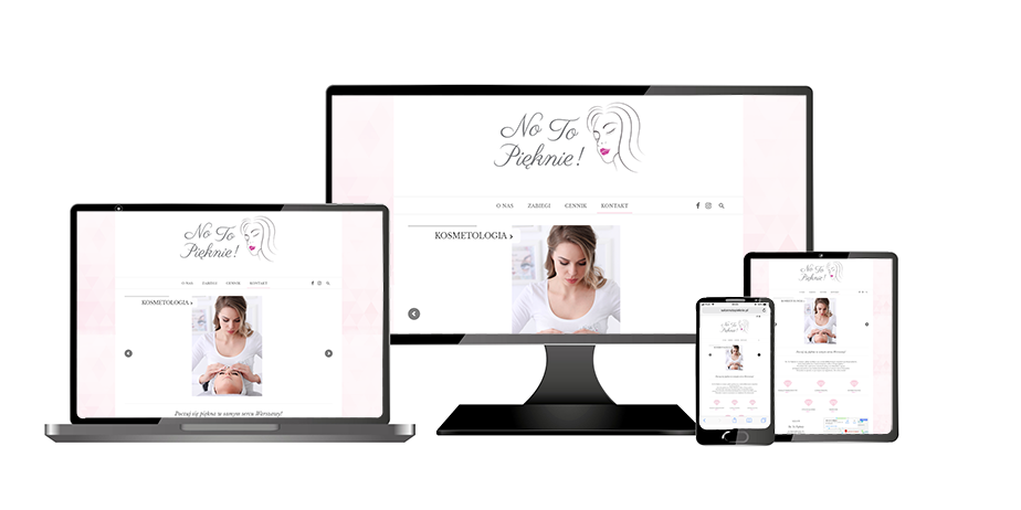 cosmetic salon website screen presented on different devices