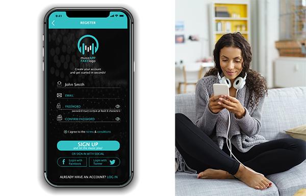 mokap aplikacji na ajfonie i kobieta na kanapie ze smartfonem i słuchawkami