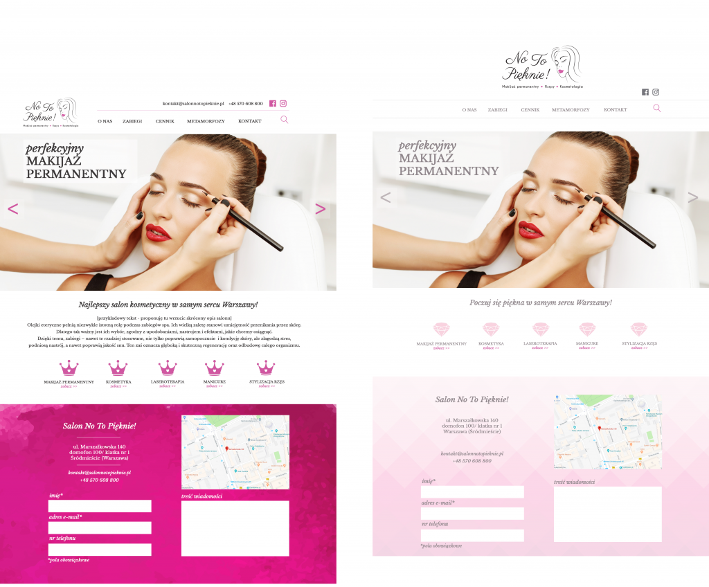 screens of two different versions of website prepared for the client